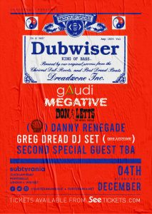 Dubwiser XMAS w/ Gaudi, Don Letts, Megative + more LIVE at Subterania, London